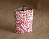 Girly Gift Orange and White Damask Print Girl Gift 8 ounce Flask