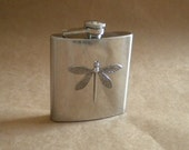 Silver Dragonfly 6 ounce Stainless Steel Gift Flask KR2D 3602