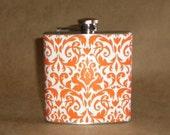 Orange and White Damask Print 6 ounce Stainless Steel Girl Gift Flask KR2D 2302