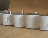 Bridal Party Special 5 White Embossed 4 ounce Stainless Steel Gift Flask with Rhinestone Initial