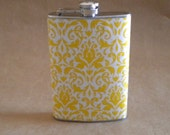 Woman's Gift Yellow and White Damask Print Bridesmaids Sorority Birthday Gift Stainless Steel 8 oz.Flask KR2D 5006
