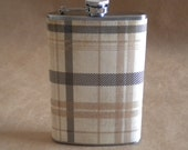 Gentleman's Plaid Print Stainless Steel 8 oz. SALE Flask KR2D 4966