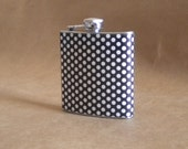Black and White Medium Polka Dot Bridal Party Girly Gift Stainless Steel Hip Flask 6 ounces KR2D 4965