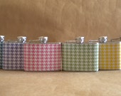 Bridal Party Flasks ANY 6 Girly Prints 4 ounce  (On Sale) Stainless Steel Gift Flasks KR2D 5214
