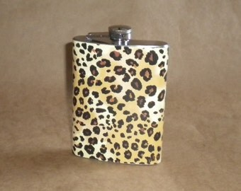Ladies' Gift Flask Leopard Print Girl Gift Stainless Steel 8 Ounce Flask