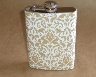 Ladies' Gift Taupe and White Damask Print Wedding Party Stainless Steel Gift Flask 8 Ounces