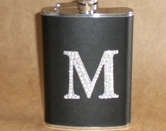 Ready to Ship ANY Rhinestone Initial on Black Leather Stainless Steel Gift Hip Flask