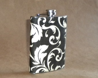 Black and Cream Damask Print Gift Stainless Steel Hip Flask