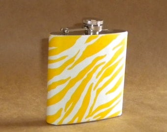 On SALE Girly Gift Yellow and White Zebra Print 6 ounce Stainless Steel Girly Gift Flask
