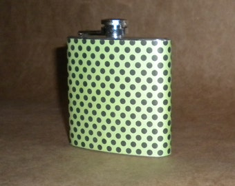 On SALE now Apple Green with Black Polka Dots Stainless Steel Gift 6 Ounce Flask KR2D 2239