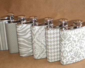 Gray Flask Collection or ANY 6 Print Design 6 ounce Stainless Steel Gift Hip Flasks