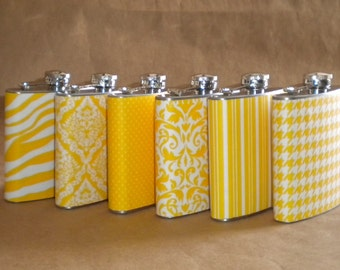 Sorority or Bridesmaids Gift Flasks ANY 6 Print Design Stainless Steel Gift Flasks