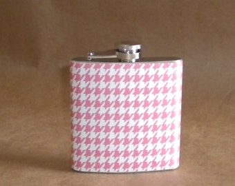 Pink and White Houndstooth Print 6 ounce Stainless Steel Girl Gift Flask KR2D 2220