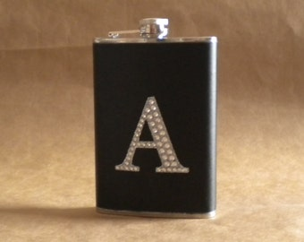 Personalized Gift Flask ANY Rhinestone Initial Black Leather Stainless Steel Gift 8 Ounce Flask
