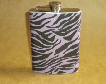 SALE Flask Purple and Black Zebra Print Gift Stainless Steel Flask 8 Ounces