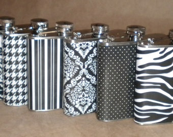 Sorority or Bridesmaids Gifts 6 Black and White 6 Ounce Stainless Steel Gift Flasks