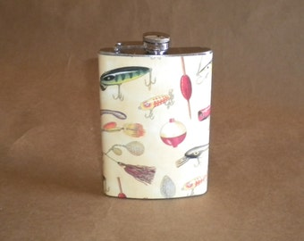 Fisherman's Gift Ready to Ship and on SALE It's Fishing Time Stainless Steel Hip Flask 8 Ounces