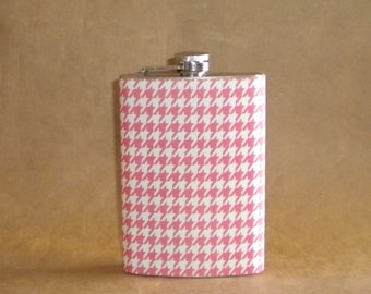 Bachelorette Gift Pink and White Houndstooth Stainless Steel Girl Gift Flask