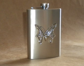 Bridesmaids Gift Silver Butterfly 8 Ounces Stainless Steel Girly Gift Hip Flask