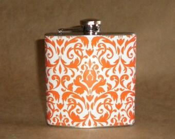 Clemson Orange and White Damask Print 6 ounce Stainless Steel Girl Gift Flask KR2D 2302