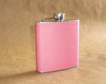 Pink and White Pin Dot Print 6 ounce Stainless Steel Girl Gift Flask
