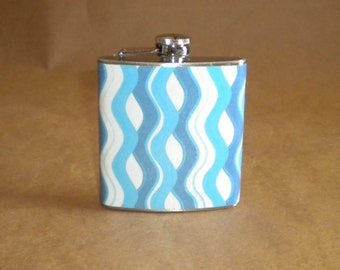 Spring Break SALE Flask Blues and White Wave Print Wedding Sorority Birthday 6 ounce Stainless Steel Gift Flask