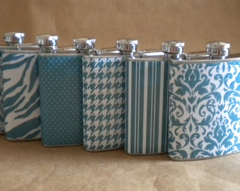 Wedding Party Special ANY 6 Print Design 6 ounce Stainless Steel Bridesmaids Flasks