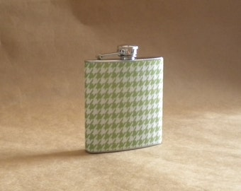 SALE Flask Green and White Houndstooth Print Girl Gift Flask 6 ounces