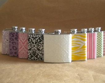 Bridesmaids or Bachelorette Party Flasks Any 9 Print Design 6 ounce Bridemaids Sorority Women Gift Flasks
