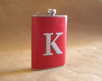 Personalized Bridesmaids or Sorority Gift Red or ANY Color Sparkly with ANY Rhinestone Initial 8 oz. Stainless Steel Gift Flask KR2D 4532