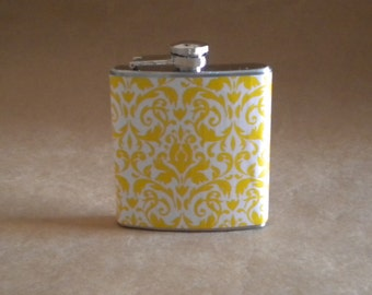 Damask Print Flask Yellow and White Damask Print 6 ounce Stainless Steel Girly Gift Flask KR2D 4497