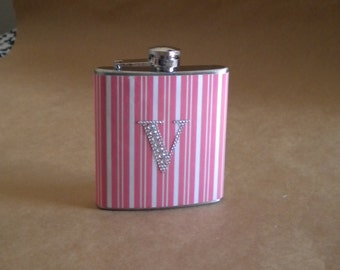 Bridal Party Gift Pink and White Stripes Print or ANY Print Design with ANY Rhinestone Initial 6 ounce Stainless Steel Girl Gift Flask