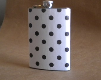 Sale Flask White with Black Polka Dots Print Girl Gift Flask 8 ounces
