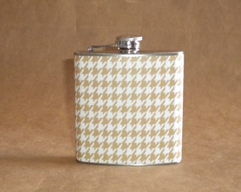 Flask on SALE Taupe and White Houndstooth Print 6 ounce Stainless Steel Girl Gift Flask