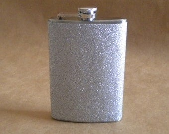 Silver Sparkly or ANY Color Sparkly 8 ounce Stainless Steel Girly Gift Flask KR2D 4979