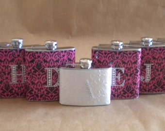 Wedding Party Special 8 Bridesmaids Gift Flasks ANY Print and 1 Bridal Flask  All with Rhinestone Initials KR2D 5137