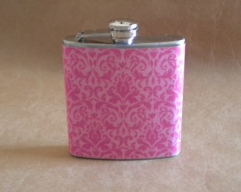 Price Reduced Pink on Pink Damask Print 6 ounce Stainless Steel Girl Gift Flask KR2D 5157