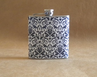 Navy Blue and White Damask Print 6 ounce Stainless Steel Girl Gift Flask KR2D 5164