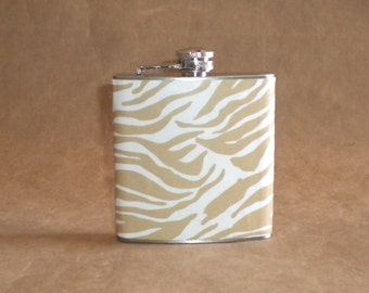 Price Reduced Ladies Gift Flask Taupe and White Zebra Print 6 ounce Stainless Steel Girl Gift Flask KR2D2687