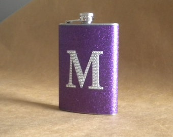 Personalized Bridesmaids Gift Purple Sparkly or ANY Color Sparkly with ANY Rhinestone Initial 8 ounce Stainless Steel Flask KR2D 5301
