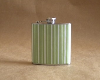 Flask On Sale Now! Green and White Stripe Print 6 ounce Stainless Steel Gift Flask KR2D 4252