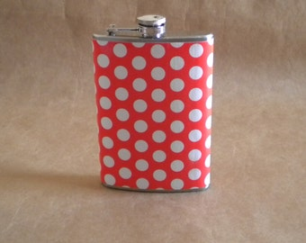 SALE Flask Bright Orange and White Polka Dots Girly Gift Flask KR2D4937