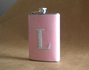 Ladies Gift Light Pink or ANY Color Sparkly with ANY Rhinestone Initial 8 ounce Stainless Steel Girly Gift Flask KR2D 5296