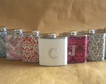 Bridesmaids Gift Flasks ANY 9 Print Designs with Rhinestone Initials 6 ounce Stainless Steel Flask KR2D5463