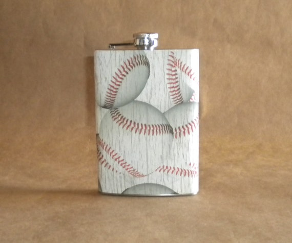 Ready to Ship Baseball Print Stainless Steel Guy Gift Flask 8 Ounces