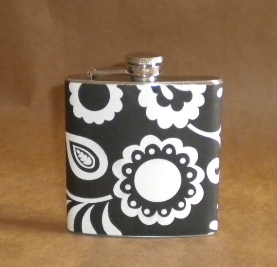 Flask SALE Black and White Modern Floral 6 ounce Stainless Steel Flask