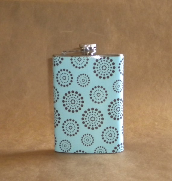 Flask on Sale Baby Blue with Brown Dot Circles Stainless Steel Gift Flask