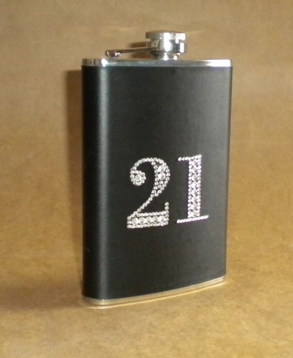 21st Birthday or 30th Birthday or ANY Birthday or Wedding Anniversary Stainless Steel Gift  Hip Flask