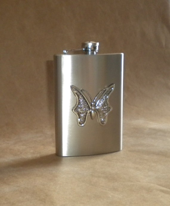 Bridesmaids Gift Silver Butterfly 8 Ounces Stainless Steel Gift Hip Flask