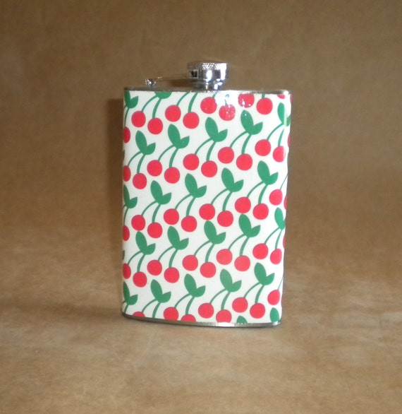 Girly Flask Red Cherries Print  Bridal Party Birthday Stainless Steel Flask